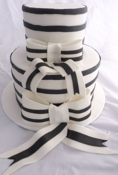 Celebrate Cakes Adult Birthday Cakes - Three Tiered Black and White Birthday Cake