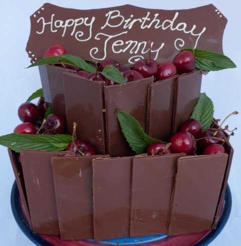 Celebrate Cakes Adult Birthday Cakes chocolate slab and cherry birthday cake