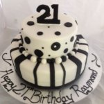 Celebrate Cakes Adult Birthday Cakes - Two tiered black and white cake