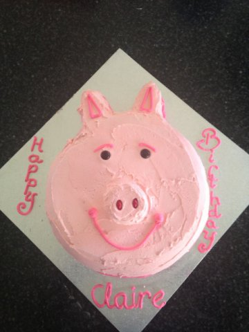 -5 Kids Birthday Cake 2D Pig