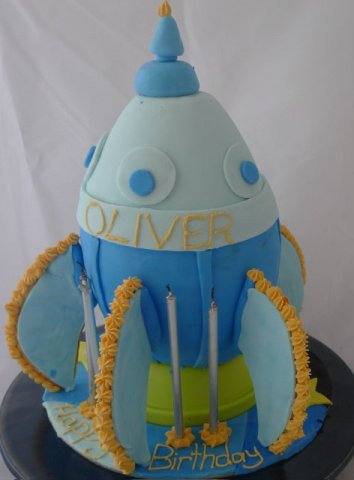 4 Rocket Ship Kids Birthday Cake