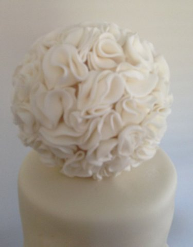 Celebrate Cakes Sugar Flowers - a sphere of sugar frills with edible diamentes
