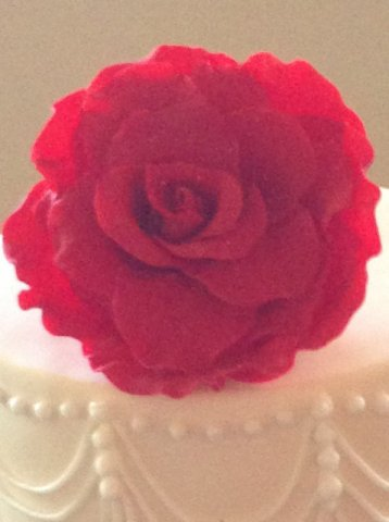 Celebrate Cakes Sugar Flowers - Deep red David Austin full sugar rose