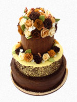 Perth Wedding Cake - three tiered with sugar flowers