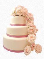 Perth Wedding Cake - three tiered with roses